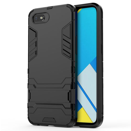 Slim Armour Tough Shockproof Case & Stand for realme C2 - Black
