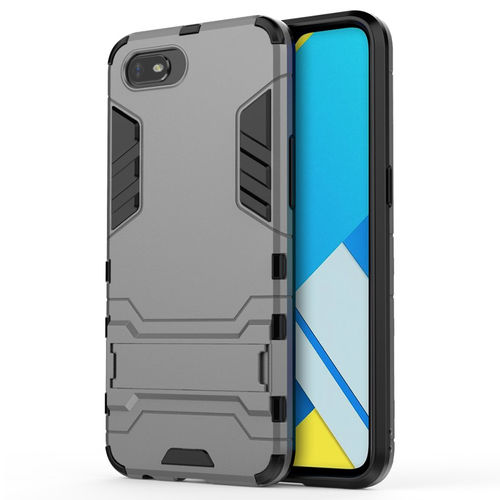 Slim Armour Tough Shockproof Case & Stand for realme C2 - Grey