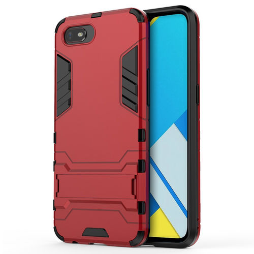 Slim Armour Tough Shockproof Case & Stand for realme C2 - Red