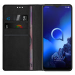 Leather Wallet Case & Card Holder Pouch for Alcatel 3X (2019) - Black