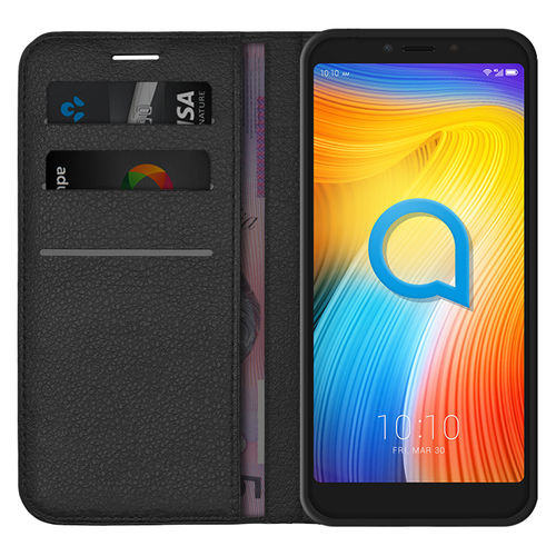 Leather Wallet Case & Card Holder Pouch for Alcatel 1S - Black