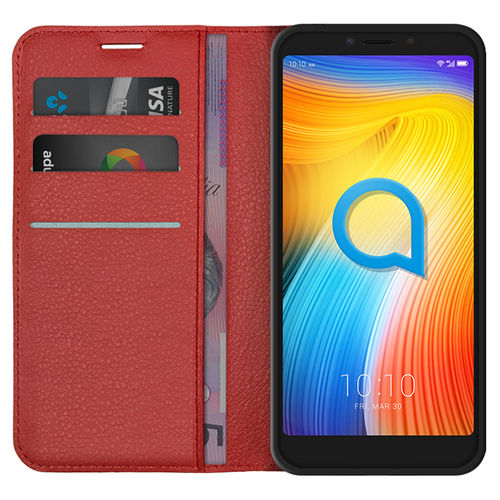 Leather Wallet Case & Card Holder Pouch for Alcatel 1S - Red
