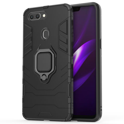 Slim Armour Tough Shockproof Case / Finger Ring Holder for Oppo R15 - Black