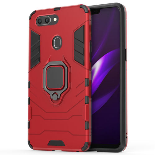 Slim Armour Shockproof Case & Magnetic Ring Holder for Oppo R15 - Red