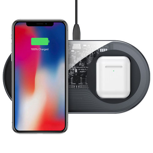 Baseus 2-in-1 (15W) Dual Wireless Charger Pad for iPhone / AirPods - Clear