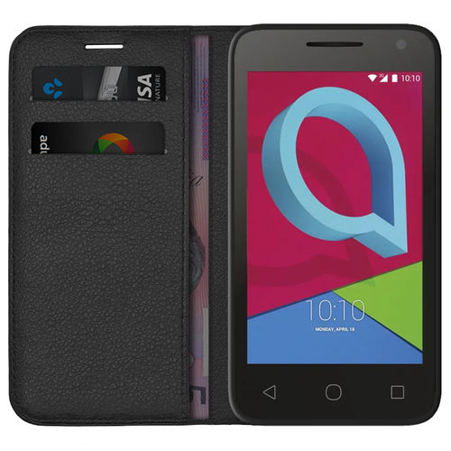 Leather Wallet Case & Card Holder Pouch for Alcatel U3 - Black