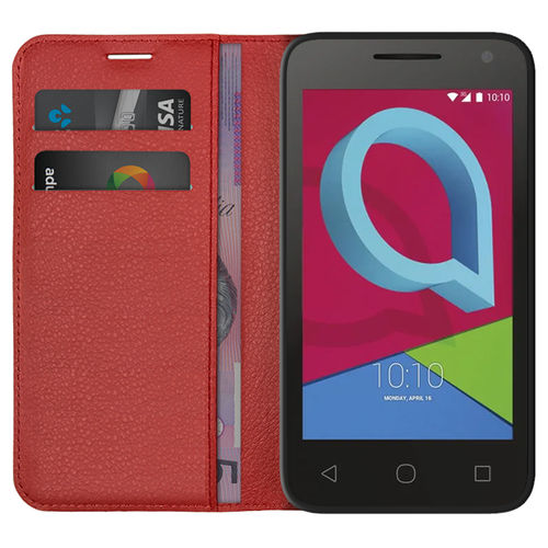 Leather Wallet Case & Card Holder Pouch for Alcatel U3 - Red