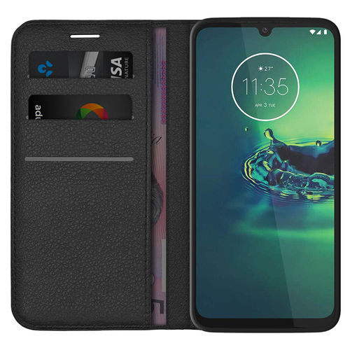 Leather Wallet Case & Card Holder Pouch for Motorola Moto G8 Plus - Black