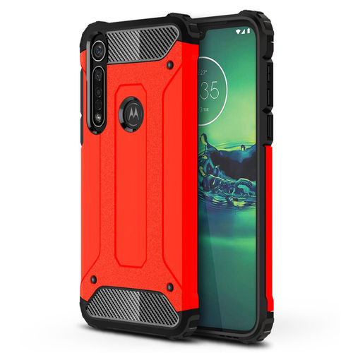 Military Defender Tough Shockproof Case for Motorola Moto G8 Plus - Red