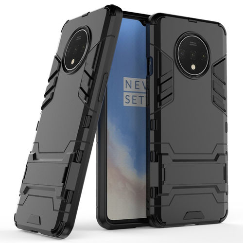 Slim Armour Tough Shockproof Case & Stand for OnePlus 7T - Black