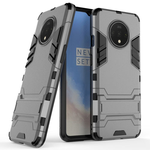 Slim Armour Tough Shockproof Case & Stand for OnePlus 7T - Grey