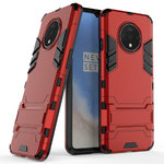 Slim Armour Tough Shockproof Case & Stand for OnePlus 7T - Red