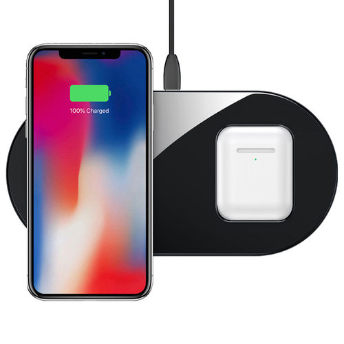 Baseus 2-in-1 (15W) Dual Wireless Charger Pad for iPhone / AirPods - Black