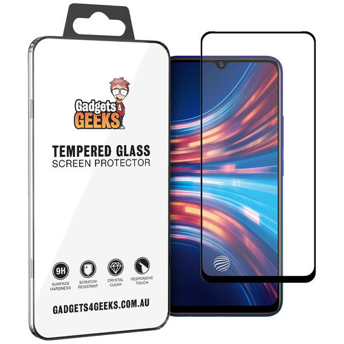Full Coverage Tempered Glass Screen Protector for Vivo S1 - Black