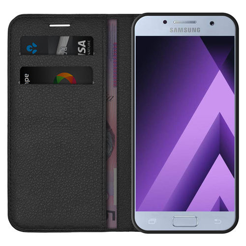 Leather Wallet Case & Card Holder Pouch for Samsung Galaxy A3 (2017) - Black