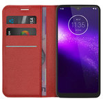 Leather Wallet Case & Card Holder Pouch for Motorola One Macro - Red