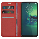 Leather Wallet Case & Card Holder Pouch for Motorola Moto G8 Plus - Red