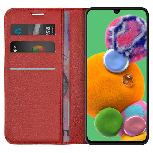 Leather Wallet Case & Card Holder Pouch for Samsung Galaxy A90 5G - Red