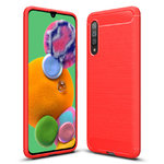 Flexi Slim Carbon Fibre Case for Samsung Galaxy A90 5G - Brushed Red