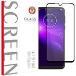 Full Coverage Tempered Glass Screen Protector for Motorola One Macro - Black