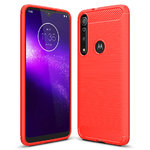 Flexi Slim Carbon Fibre Case for Motorola One Macro - Brushed Red