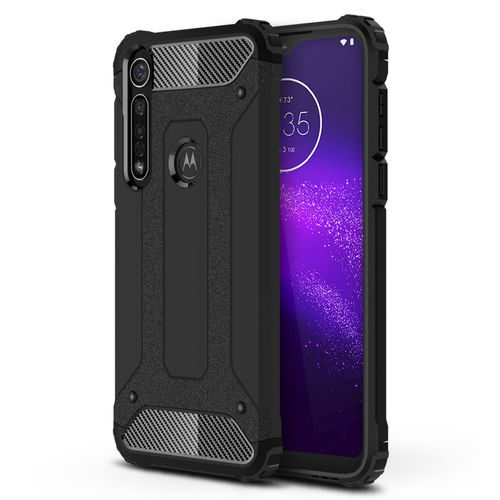 Military Defender Tough Shockproof Case for Motorola One Macro - Black