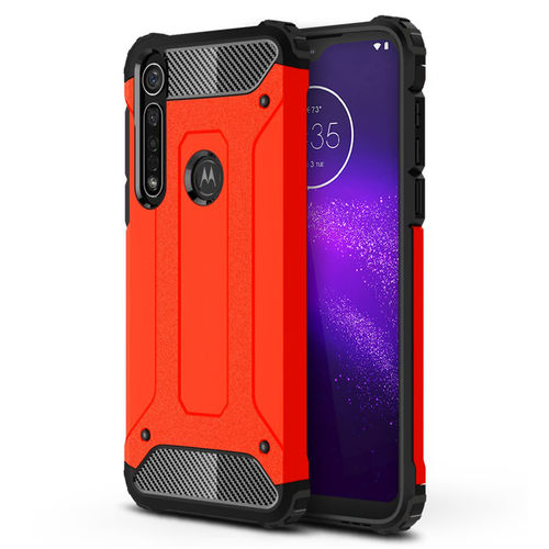 Military Defender Tough Shockproof Case for Motorola One Macro - Red