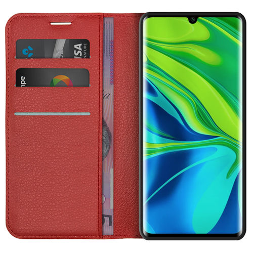Leather Wallet Case & Card Holder Pouch for Xiaomi Mi Note 10 Pro - Red