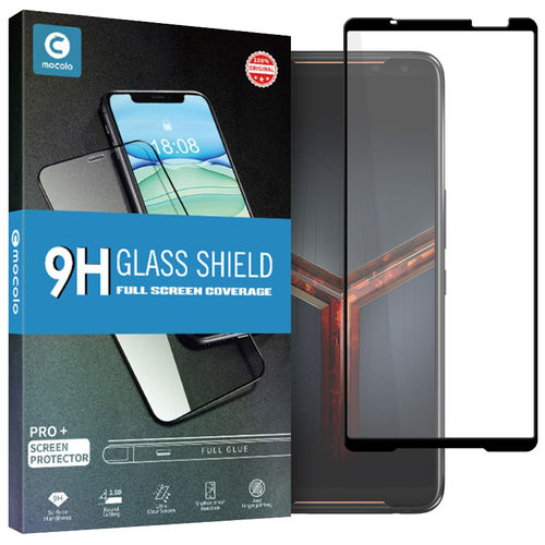 Full Coverage Tempered Glass Screen Protector for Asus ROG Phone II - Black