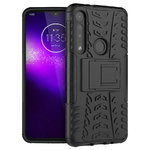Dual Layer Rugged Tough Case & Stand for Motorola One Macro - Black