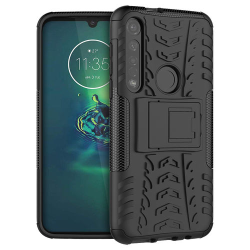 Dual Layer Rugged Tough Case & Stand for Motorola Moto G8 Plus - Black