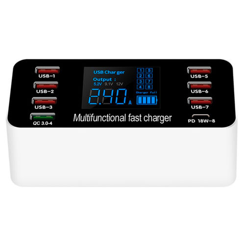 A9P (60W) 8-Port USB Type-C (PD) Fast Charging Station / LED Voltage / Quick Charge 4.0
