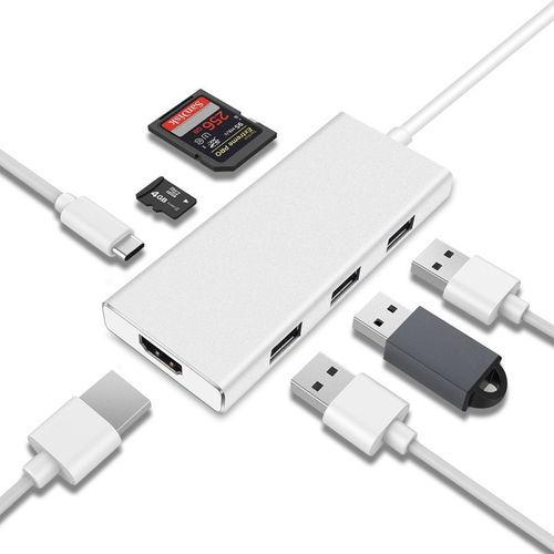 60W USB-PD Type-C Hub / USB 3.0 / MicroSD Card / 4K HDMI for MacBook / Laptop