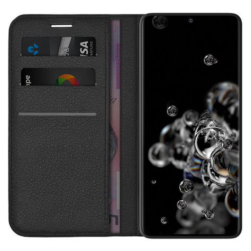 Leather Wallet Case & Card Holder Pouch for Samsung Galaxy S20 Ultra - Black