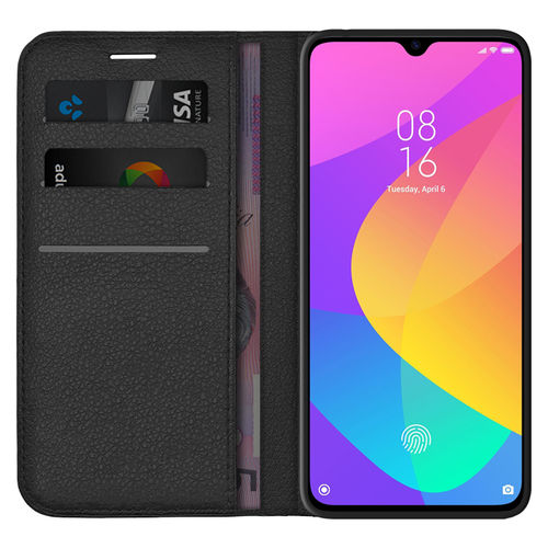 Leather Wallet Case & Card Holder Pouch for Xiaomi Mi 9 Lite - Black