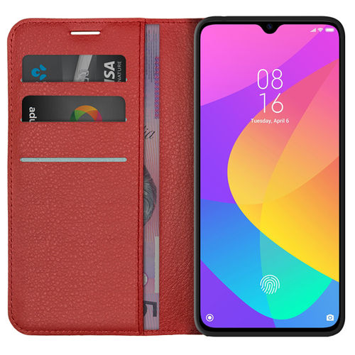 Leather Wallet Case & Card Holder Pouch for Xiaomi Mi 9 Lite - Red