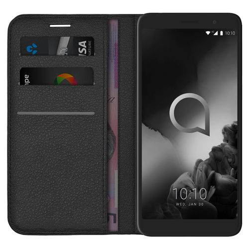 Leather Wallet Case & Card Holder Pouch for Alcatel 1X (2019) - Black