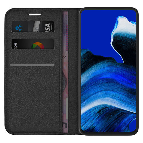 Leather Wallet Case & Card Holder Pouch for Oppo Reno2 Z - Black
