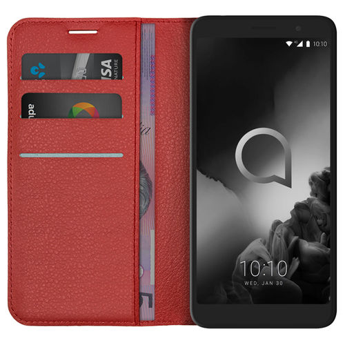Leather Wallet Case & Card Holder Pouch for Alcatel 1X (2019) - Red