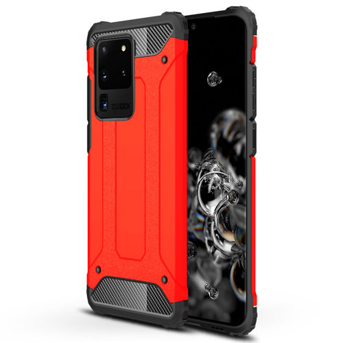Military Defender Tough Shockproof Case for Samsung Galaxy S20 Ultra - Red