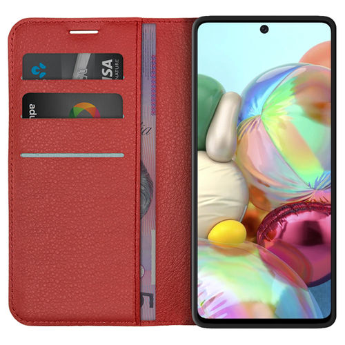 Leather Wallet Case & Card Holder Pouch for Samsung Galaxy A71 - Red