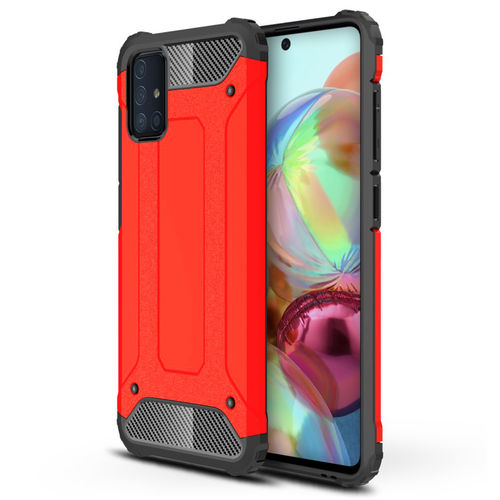 Military Defender Tough Shockproof Case for Samsung Galaxy A71 - Red