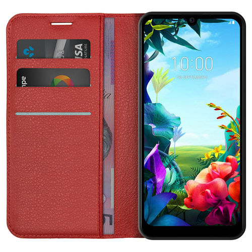 Leather Wallet Case & Card Holder Pouch for LG K40S - Red
