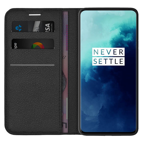 Leather Wallet Case & Card Holder Pouch for OnePlus 7T Pro - Black