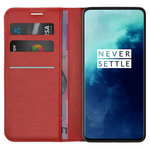 Leather Wallet Case & Card Holder Pouch for OnePlus 7T Pro - Red