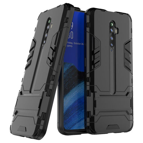 Slim Armour Tough Shockproof Case & Stand for Oppo Reno2 Z (Black)