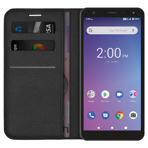 Leather Wallet Case for ZTE Blade A5 (2019) / Telstra Essential Pro - Black
