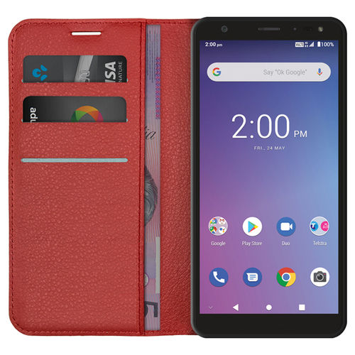Leather Wallet Case for ZTE Blade A5 (2019) / Telstra Essential Pro - Red
