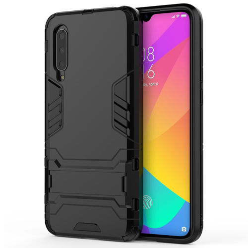 Slim Armour Tough Shockproof Case & Stand for Xiaomi Mi 9 Lite - Black