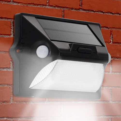 140 LM Outdoor Garden Wall Light / Dual Motion Sensor / Solar Panel / 12 Colour LED